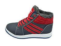 Мужские зимние кроссовки с нат.кожи Cross Fit Stael 34 Blue Red размеры: 40 41 42 43 44 45