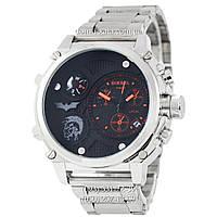 Мужские наручные часы Diesel Steel Brave 2221 Silver-Black-Red, кварцевые, элитные часы Дизель Стил Брейв