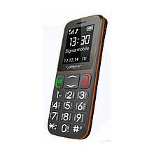 Телефон кнопковий на 2 сім карти бабушкофон Sigma Comfort 50 mini3 сіро-помаранчевий