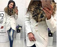 Пальто женское с меховым воротником кашемир