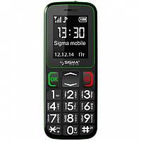 Телефон кнопочный на 2 сим карты бабушкофон Sigma Comfort 50 mini3 чёрно-зелёный