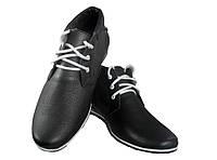 Ботинки мужские демисезонные натуральная кожа на шнуровке черные