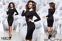 Стильное элегантное черное платье с белым воротничком новинка Balani (42,44,46)