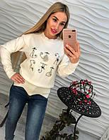 Женский свитер джемпер с бусинами и бисером Котики