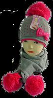 Комплект шапка детская +шарф м 7026, акрил, флис (В.И.В.)