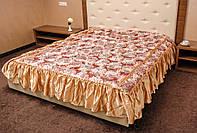 Покрывало с рюшами на кровать Цветок 180*210.Красное.