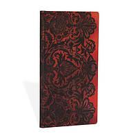 Блокнот Paperblanks Кружева Красный Слим в Линейку (9,5х18 см) (PB3250-2), фото 1
