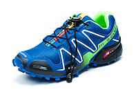 Кроссовки мужские Salomon Speedcross 3, синие с салатовым, р. 41 42 43 44 45