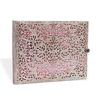 Блокнот Paperblanks Серебряная филигрань Розовый Гостевая книга в Линейку (18х23 см) (PB2603-7), фото 1