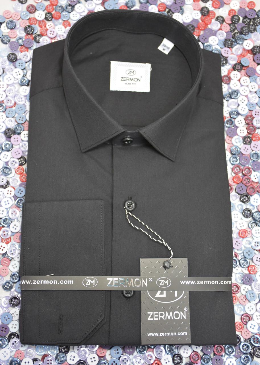 Черная приталенная рубашка ZERMON (размер S,M,L,XL,XXL + под заказ)