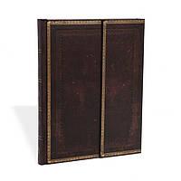 Блокнот Paperblanks Старая кожа Чёрная марокканская Большой в Линейку (18х23 см) (PB8386), фото 1
