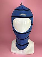 Демисезонная шапка-шлем для мальчика Дино 1715 голубой темно-синий