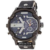 Мужские часы Diesel DZ7314 All Black-Blue-Silver, кварцевые, элитные часы Дизель Брейв, кожаный ремешек