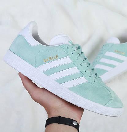 Женские кроссовки в стиле Adidas Gazelle Ice Mint, фото 2