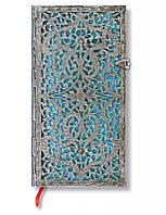Блокнот Paperblanks Серебряная филигрань Лазурный Слим в Линейку (9,5х18 см) (PB2564-1), фото 1