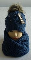 Комплект шапка и шарф хомут м 7061, разные цвета  (В.И.В)