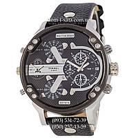 Мужские часы Diesel DZ7314 Black-Silver-Black, кварцевые, элитные часы Дизель Брейв, кожаный ремешек