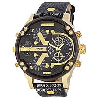 Мужские часы Diesel DZ7314 Black-Gold-Black, кварцевые, элитные часы Дизель Брейв, кожаный ремешек