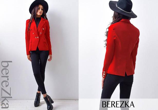 Стильный красный женский пиджак на подкладке 44 р, фото 2