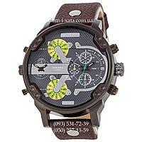Мужские часы Diesel DZ7314 Brown-Black-Gray-Green, кварцевые, элитные часы Дизель Брейв, кожаный ремешек
