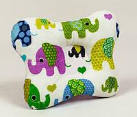 Ортопедическая подушка для младенцев бабочка MAMYSIA 139 Слоники на сиреневом 22 х 26 см