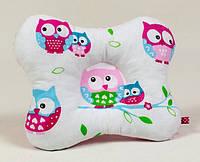 Подушка для младенцев ортопедическая бабочка MAMYSIA 138 Нежные совушки 22 х 26 см розовая