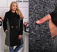 Модное женское пальто больших размеров кашемир и букле с подкладкой