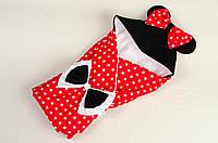 """Летний конверт - одеяло на выписку BabySoon """"Мини Маус"""", 80см х 85см красный"""
