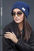 Женская шапка крупной вязки