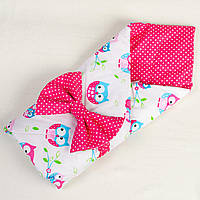 Летний конверт для новорожденных MAMYSIA Совушки на ярко розовом 80 х 85 см розовый (023)
