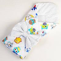 Детский конверт для новорожденных летний MAMYSIA Совы в наушниках 80 х 85 см (020)