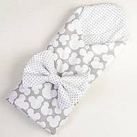 Конверт для новорожденных летний MAMYSIA Микки 80 х 85 см серый (022)