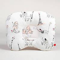 Детская ортопедическая подушка MAMYSIA 172 Пудели в париже цвет пудры 22 х 26 см