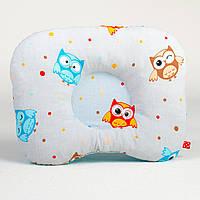 Детская ортопедическая подушка для новорожденных MAMYSIA 173 Забавные совушки 22 х 26 см цвет серый