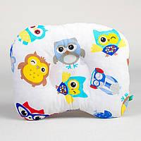 """Ортопедическая подушка для новорожденных  BabySoon """"Совы в наушниках"""" 22 х 26 см"""