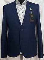 Насыщенный голубой костюм в белую полоску Lordini