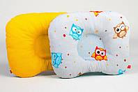 Детская подушка ортопедическая для новорожденных MAMYSIA 165 Забавные совушки с оранжевым 22 х 26 см