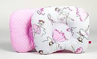 """Ортопедическая подушка для новорожденных  BabySoon """"Балерины и горошек на розовом"""" 22 х 26 см"""