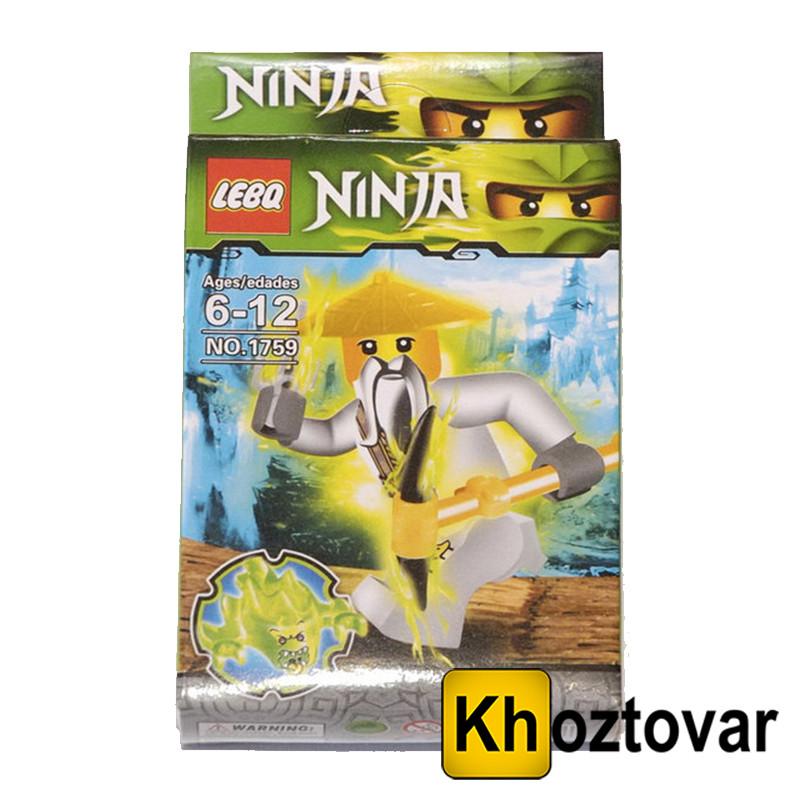 """Фігурка-конструктор для дітей від 6 до 12 років """" Ниндзяго. Майстер Ву"""" LEBQ Ninja №1759"""