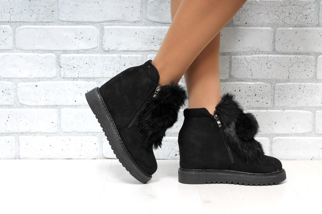 Женские зимние короткие ботинки на танкетке
