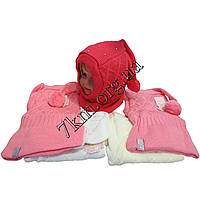 Шапка-капор детская вязка + флис для девочек 2-3 года Оптом 0731