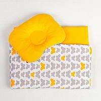 Постель для новорожденных в коляску MAMYSIA 118 Бабочки одеяло 65 х 75 см подушка 22 х 26 см оранжевый