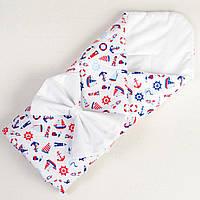 Хлопковое конверт - одеяло демисезонное MAMYSIA Мой морячок 80 х 85см (048)