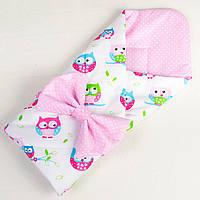 Демисезонный конверт - одеяло на выписку MAMYSIA Нежные совушки 80 х 85 см розовый (042)