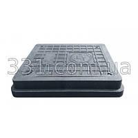 Люк полимерпесчаный легкий 400х450 с замком ( А15 ) черный