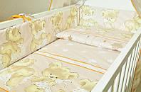 Детское постельное белье из 6 ед.(без балдахина и кармана)- Мишка с подушкой, серия Organic Cotton