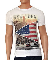 Мужская белая футболка New York - №2236