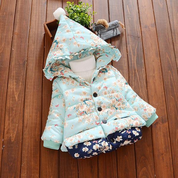 Куртка зимняя детская трапеция в мелкий цветочек