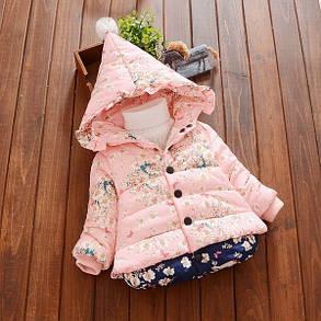Куртка зимняя детская трапеция в мелкий цветочек, фото 2