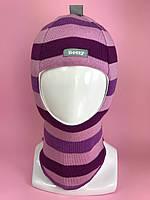 Зимняя шапка-шлем для девочки 1505 Рыцарь фиолет